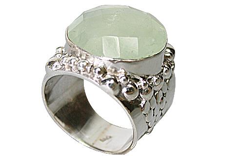 Design 10299: green prehnite mens rings