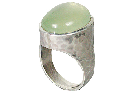 Design 10343: Green prehnite american-southwest rings