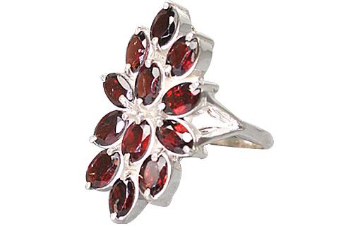 Design 10348: red garnet flower rings