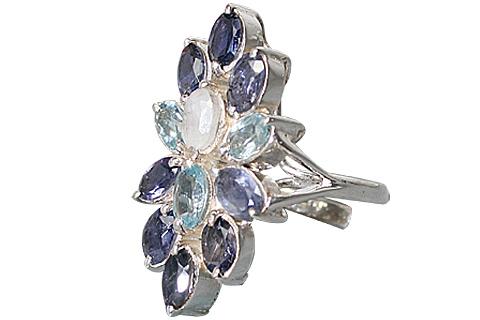 Design 10352: blue,white iolite flower rings