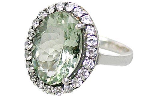 Design 10354: Green, White green amethyst rings