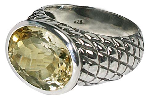 Design 10364: green,yellow lemon quartz rings