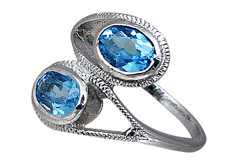 Design 10446: blue blue topaz brides-maids rings