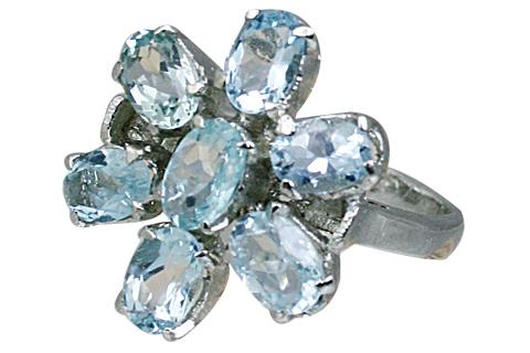 Design 10447: blue blue topaz flower rings