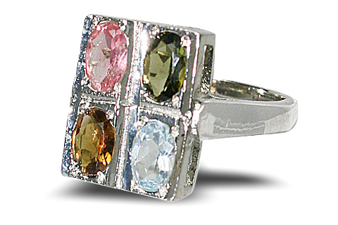 Design 10451: multi-color multi-stone brides-maids rings