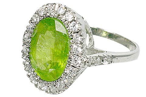 Design 10452: green,white peridot rings