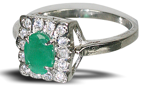 Design 10454: Green, White emerald engagement, estate rings