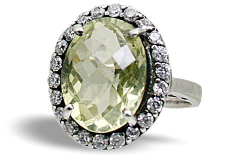 Design 10457: Green, White lemon quartz rings