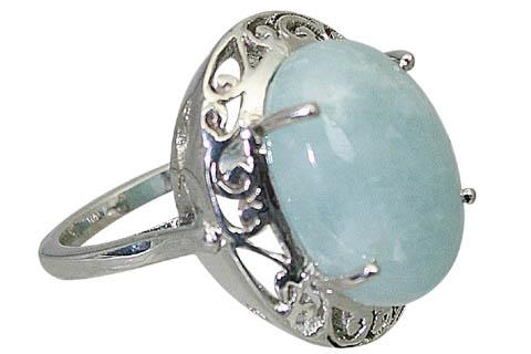 Design 10611: Green aquamarine art-deco rings