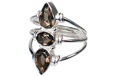 Design 10617: brown smoky quartz rings