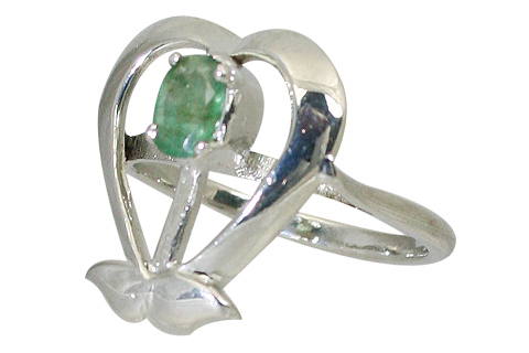 Design 10648: green emerald engagement, heart rings