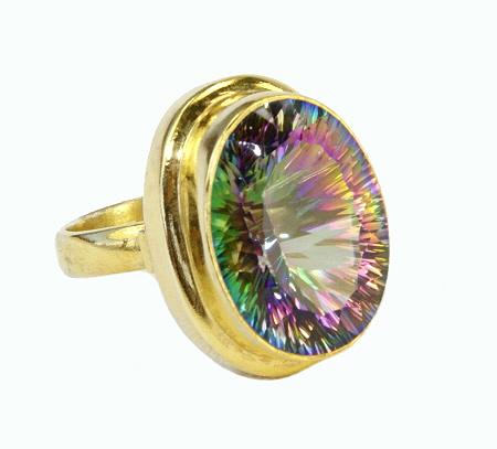 Design 10977: green,purple mystic quartz rings