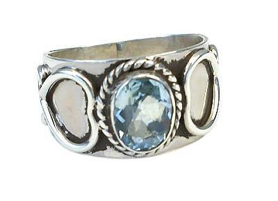 Design 11012: blue blue topaz heart, mens rings