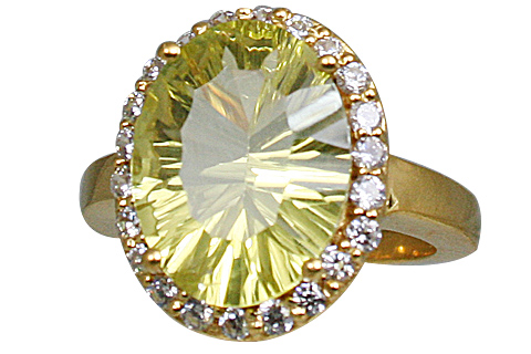 Design 11014: green,yellow lemon quartz brides-maids rings