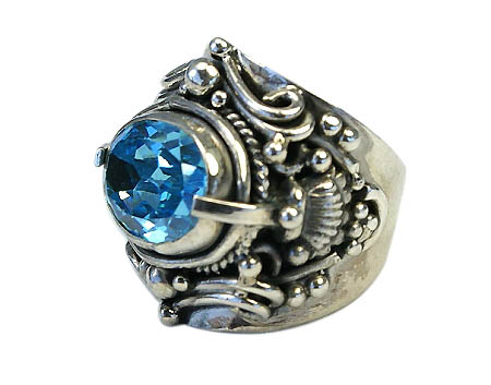 Design 11025: blue cubic zirconia gothic-medieval rings