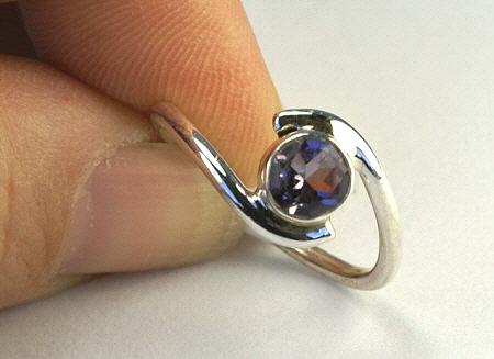 Design 11026: purple iolite rings