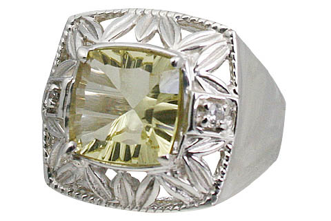 Design 11056: green lemon quartz engagement rings