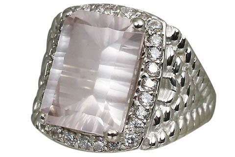Design 11066: pink rose quartz brides-maids rings