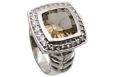 Design 11073: brown smoky quartz brides-maids rings