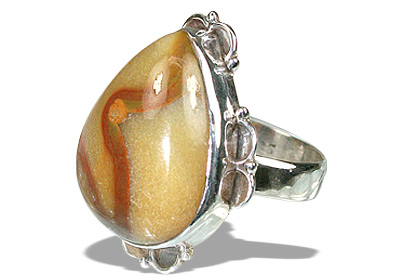 Design 11960: brown,yellow agate american-southwest rings