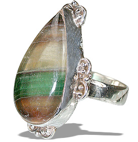 Design 11969: multi-color fluorite american-southwest rings