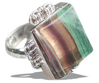 Design 11972: brown,green,multi-color fluorite rings