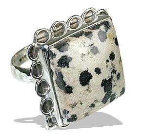 Design 12003: black dalmatian jasper american-southwest rings