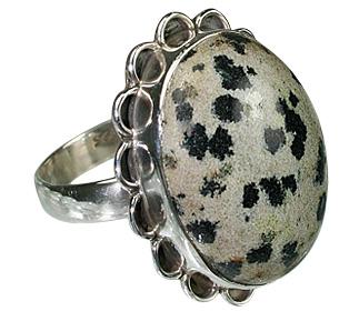 Design 12008: black dalmatian jasper american-southwest rings
