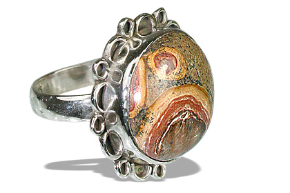Design 12009: brown,multi-color jasper american-southwest rings