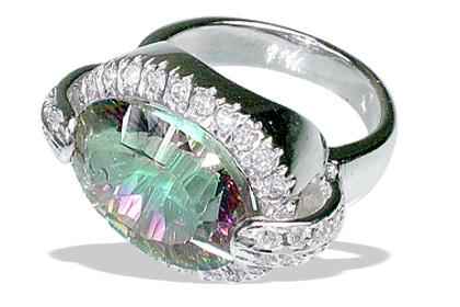 Design 12053: green,purple,multi-color mystic quartz rings