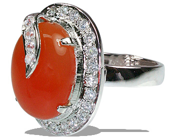 Design 12056: orange,white carnelian contemporary, engagement, estate rings