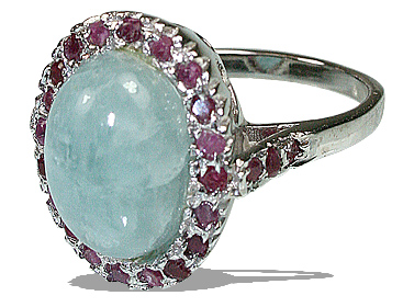 Design 12057: Blue,Pink aquamarine engagement, estate rings