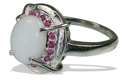 Design 12060: pink,white opal engagement, estate rings