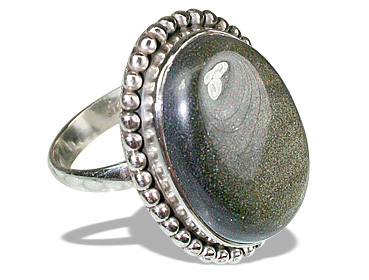 Design 12104: brown,gray obsidian american-southwest rings