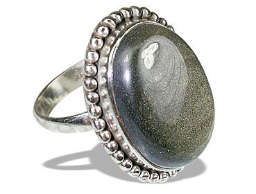 Design 12104: brown,gray obsidian american-southwest rings