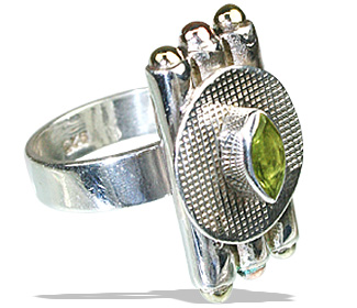 Design 12146: green peridot art-deco, estate rings