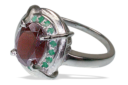 Design 12154: green,red garnet contemporary, engagement rings