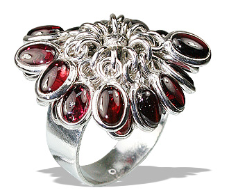 Design 12157: red garnet flower rings