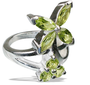 Design 12198: green peridot engagement, flower rings