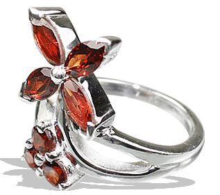 Design 12201: red garnet brides-maids rings