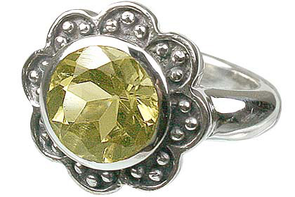 Design 12214: yellow lemon quartz flower rings