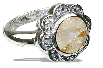 Design 12216: yellow golden rutile flower rings