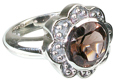 Design 12217: brown smoky quartz flower rings