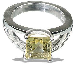 Design 12230: yellow lemon quartz art-deco, contemporary, mens, solitaire rings