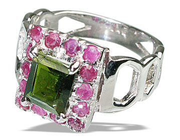 Design 12445: green,pink tourmaline rings