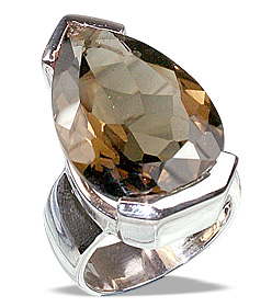 Design 12463: brown smoky quartz mens rings