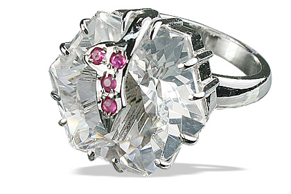 Design 12599: pink,white crystal solitaire rings