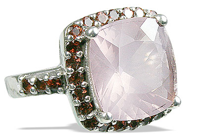 Design 12952: pink,red,multi-color rose quartz estate rings