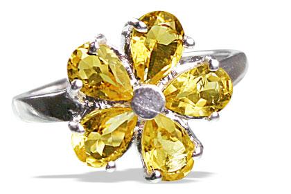 Design 12990: yellow citrine flower rings