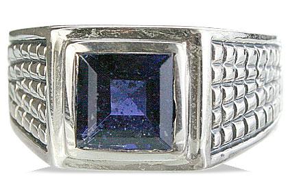 Design 13141: blue iolite art-deco, engagement, mens rings